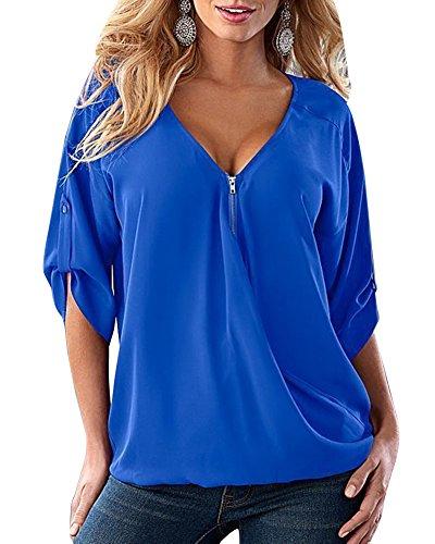 Donna maglie a manica lunga con cerniera bluse e camicie casuale v-collo sciolto shirt tops blu 3xl