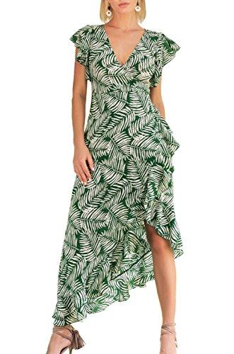 T.SEBAN Damen Kleider Cocktail Asymmetrisch Abendkleid Sommerkleid V-Ausschnitt