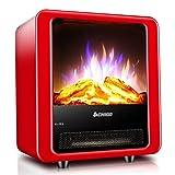 FANG Chimenea Electrica Portátil 1800W con Protección contra Sobrecalentamiento Efecto Llama 3D Calefactor Eléctrico Decoraciones De Interior,Rojo
