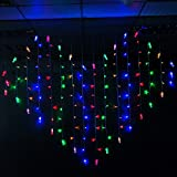 BLOOMWIN Lichtervorhang Herz 2 * 1.5M Bunt mit Klammern, 128LED Heart Curtain Fairy Clip Light Weihnachtsbeleuchtung Dekobeleuchtung Fensterdeko für Wand, Fenster, Schaufenster, Party