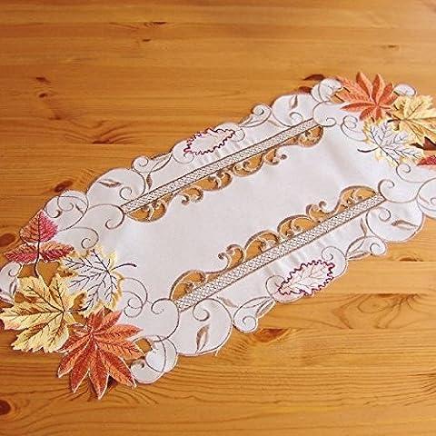 Camino de mesa - oval Beige-multicolour bordado