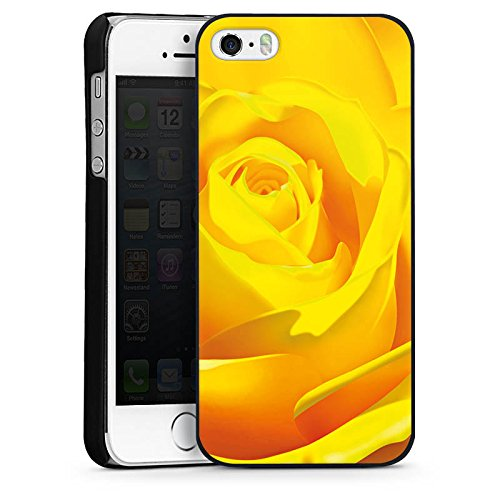 Apple iPhone 4 Housse Étui Silicone Coque Protection Rose Fleur Jaune CasDur noir