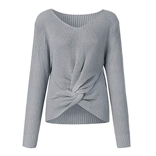 (SANFASHION Damen Pulli Langarm T-Shirt V-Ausschnitt Lose Langarmshirts Hemd Pullover Reizvolles Gekreuztes Panel Strickjacke Sweatshirt Oberteil Tops Shirts)