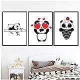 Juabc Eismalerei Panda Poster Wandkunst Leinwand Tiere Mode Baby Kinderzimmer Schlafzimmer Wohnkultur Modulare Bilder-60x80cmx3 Kein Rahmen