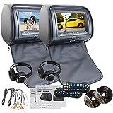 EinCar Negro 2 PCS reposacabezas de coches reproductor de DVD de doble 9 '' de la pantalla de visualización de alta definición con construido en el transmisor IR FM 32 bits Juegos SD MP3 USB para Entretenimiento IR Auriculares libres x 2
