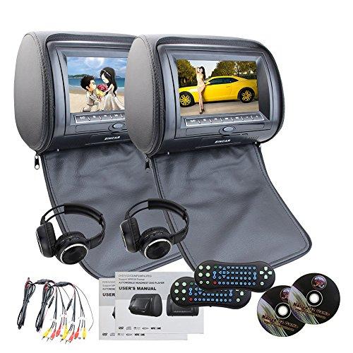 EinCar Schwarzes 2 PCS-Auto-Kopfstütze Dual DVD Player 7 '' HD-Display-Bildschirm mit eingebautem IR-FM-Transmitter 32 Bit Spiele USB-Sd MP3 für Unterhaltung IR Freie Kopfhörer x 2 (Kopfstütze Lcd Dvd Auto)