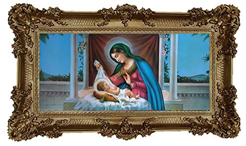 Geburt M2 Mutter Maria Jungfrau Madonna Mutter Gottes heilige Maria Ikonen Bild Repro Barock Antik Look gerahmtes Gemälde mit Ornamentverziehrungen in den Rahmen montiert Repro 96x57cm (Gold)