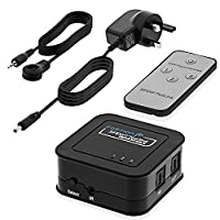 3 x 1 Toslink Switch, Fosmon [3 In 1 Out] SPDIF Toslink Digital Optical Audio Switcher with IR Remote Control and Power Adapter (Supported LPCm 2.0, DTS, Dolby-AC3)