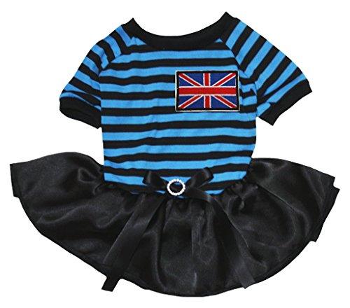 petitebelle Puppy Kleidung Kleid Britische Flagge Blau Schwarz Streifen Top Schwarz (Flagge Britische Kleider)