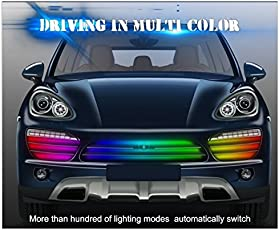 PR Front Grill Light Streamer Brake(Red) Turn(Yellow Streaming) Signal LED Lamp Strip Waterproof-For Cars