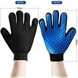 2-in-1 Pet Grooming Glove, Dog / Cat Hair Remover Brush Mitt, Deshedding Tool for Long Short Hair Fur, True Gentle Deshedding Brush Also Message Tools for Dog (Blue1 Pack)