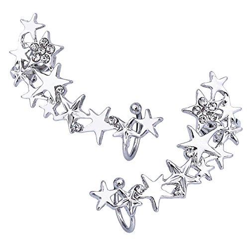 HooAMI Clip D'oreille Cristal Femme Forme de Fleur Charme Boucle d'oreille Sans Trou En Alliage Cadeau Unique pour Anniversaire Valentin 41mmx14mm