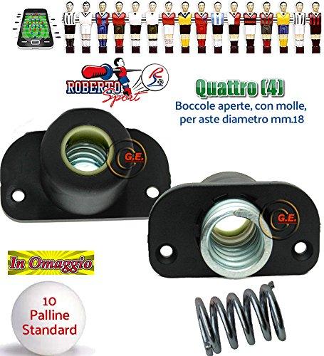 Roberto sport calcio balilla quattro (4) boccole 1814 universali aperte per calcetti modelli. boccole in nylon e fibra di vetro complete di molle in acciaio. palline in omaggio.
