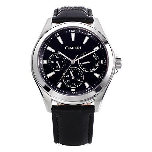 Herren Uhren Schwarze Armbanduhr Leder Chronograph Zifferblatt Multifunktional Uhr