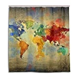 jstel Decor Duschvorhang VINTAGE Weltkarte Muster Print 100% Polyester Stoff 167,6x 182,9cm für Home Badezimmer Deko Dusche Bad Vorhänge mit Kunststoff Haken