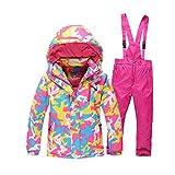 HANMAX Unisexe Combinaison de Ski Enfant Chaude Imperméable Habit de Neige Snowsuit Veste Sports d'Hiver et Loisirs + Pantalons