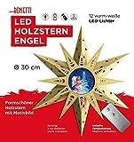 LED Holzstern Ø 30 cm Engel Fensterstern Stern Weihnachtsdeko Weihnachten