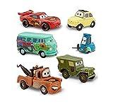 Disney Pixar Cars Figuren-Set–Lightning McQueen, Hook, Sarge, Guido, Luigi und Fillmore (PVC, Kunststoff)