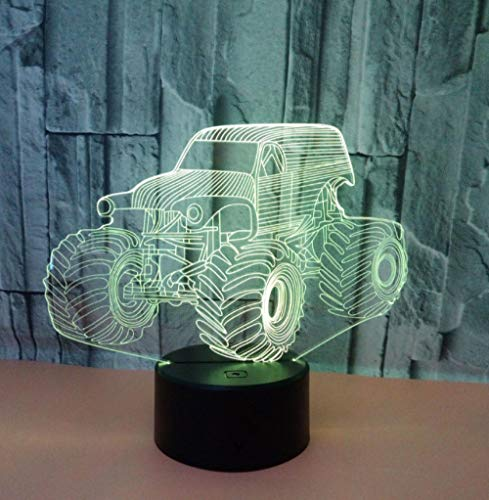 ZJFHL Kreative 3d Vision Lampe Traktor 3d 7 Bunte Touch Remote Tischlampen Für Wohnzimmer Schreibtischlampe