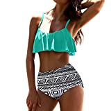 Yesmile Ropa de Baño Mujer Bikini Deportivo Mujeres Alta Cintura Bikinis Traje de Baño Swimsuit Mujer Retro Beachwear Bikini Set (M, Menta Verde)