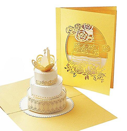 Schnelle Geschenk-karte (Stilvolle Hochzeitskarte mit extra Seite für Grüße - einzige 3-seitige Gruß-Karte - 3D Pop-Up Karte zur Hochzeit mit Torte - hochwertiges Hochzeits-Geschenk)