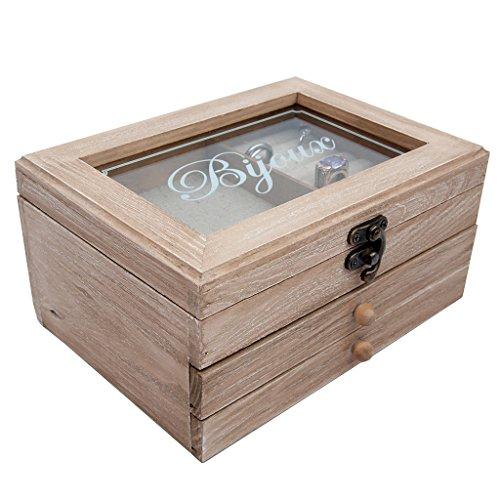 5. Hochzeitstag Geschenk für Ihre Holz Glas geätzt Bijoux Schmuck Box Halter Shop W21X H10x d15.5cm