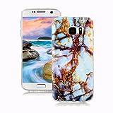 Samsung Galaxy S7 Marmor Hülle, Yunbaozi Marmor Entwurf Weich Hülle Silikon-Gummi Schützend Soft Marble Case Naturstein Textur Flexibel Glatt Étui Anti-Kratzer Granit-Muster Hülle für Samsung Galaxy S7 - Blau / Gold