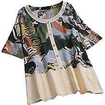 TUDUZ Blusas Mujer Manga Corta Verano Camisas O-Cuello Vintage Impresión De Arte Medio Botón