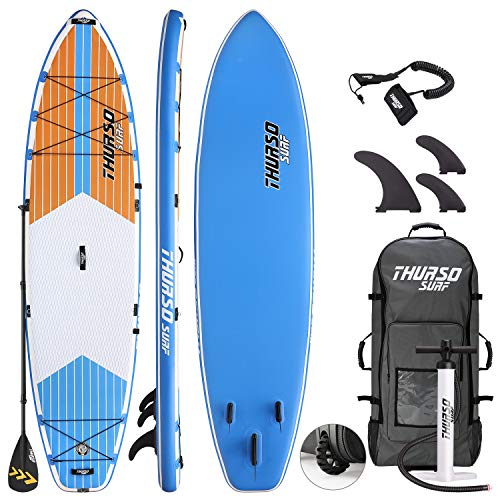 THURSO SURF Max Mehrzweck Aufblasbares Stand Up Paddling Board SUP 350 x 86 x 15 cm ZWEISCHICHTIG Inclusive Paddel mit KARBON-Schaft/2+1 Flossen mit Schnellverschluss/Leine/Pumpe/Rollrucksack