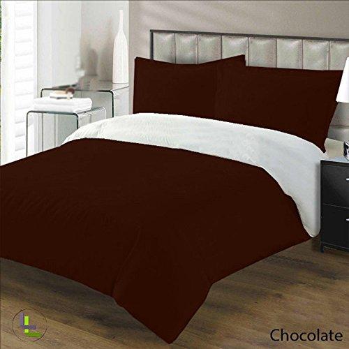 100% ägyptische Baumwolle elegant Finish 3Wendebettwäsche-Set massiv, Baumwolle, Chocolate Solid, UK_King ()