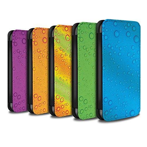Stuff4 Coque/Etui/Housse Cuir PU Case/Cover pour Apple iPhone 8 Plus / Vert Design / Gouttelettes Eau Collection Pack 7pcs