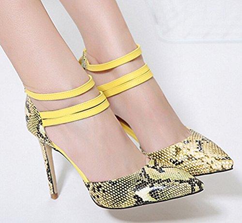 Pointu Escarpins Aisun Jaune De Bout Mode Femme Peau Serpent r5BxrSY