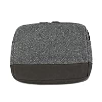 Soft Grey Tweed Tablet Case with Zip Fastening & Navy Cotton Padded Lining to fit iPad Mini