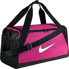 Idea Regalo - Nike Nk Brsla S Duff - Borsa sportiva, da uomo, UOMO, Nk Brsla S Duff, Rosa (vivid pink/black / white) (nero, bianco)
