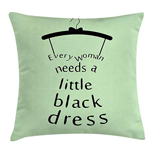 ZTLKFL Quote Throw Pillow Cushion Cover, Dress Hanger with a Tiny Bow Tie Holds Every Woman Need a Black Dress Text, Decorative Square Accent Pillow Case, 18 X 18 Inches, Pale Green and Black Handmade Printed Silk Tie