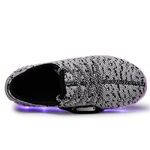 Modelshow Garçons Filles Chargeur USB 7 Couleurs LED Lumineux Tricoter Baskets Mode Allumer Chaussures Gris