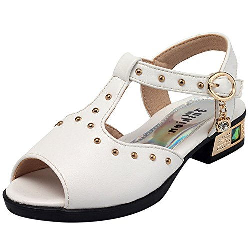 Oasap Girl's Fashion Open Toe Low Heels Buckle Rivet Sandals Black