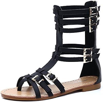 SEXYHER Mujeres clš¢sicas antiguas maneras de hacerlo es hueco de salida del clip del dedo del pie yardas grandes planas romanas Sandalias-SHOHE005