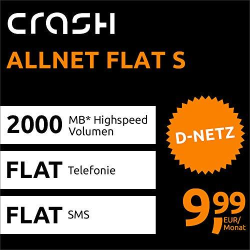 Crash Allnet Flat S mit 2 GB Internet Flat max. 21,6 MBit/s, Telefonie- und SMS-Flat in alle dt. Netze, EU-Flat, 24 Monate Laufzeit, 9,99 EUR monatlich, Triple-Sim-Karten