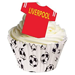 12 Edible T Shirt Decorations - Great for Liverpool Fans - Perfectly pre-Cut Wafer just pop Them Out The Packaging and top Them on Your Cake - Pack of 12 - by CDA Products Ltd