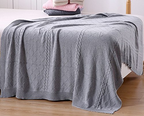 Lutanky Cable Knit Throw Blanket 100% Cotton Soft Couch Cover Sofa Bed Blanket (120x180cm) (grey)