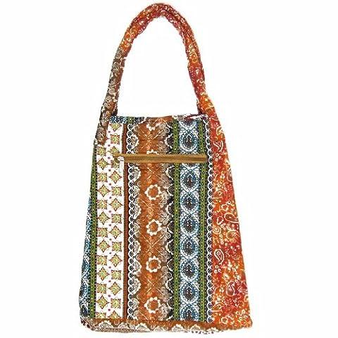 kilofly Large Bohemian Cloth Shoulder Bag Handbag Tote, Musetta Orange Floral