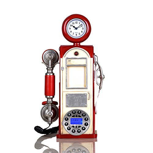 GJLR Antikes Telefon Persönlichkeit kreative Telefon Home Office Telefon Festnetz Retro Tanker Telefon,Red -