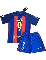 2016–2017Luis Suárez # 9nuevo FC Barcelona camiseta & pantalones cortos para niños/jóvenes, Rojo, azul