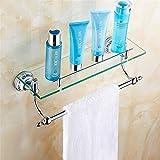Taicoen Blau und weiß Porzellan Bad Glas Regal Bad einzigen Schicht mit Stab Handtuchhalter Wand hängen Kupferstange nicht-Edelstahl