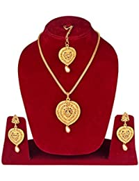 Baal Gold Plated Jewellery Necklace With Earing And Maang Tikka For Girls And Women, Fashion Party Wear Pendant...