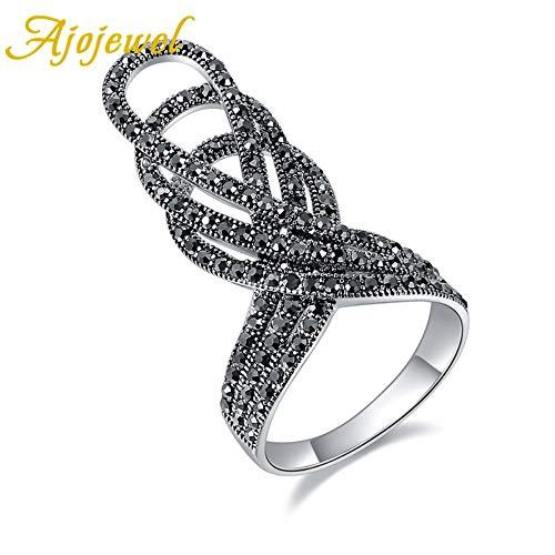 KFYU Neue größe 7-9 aussage übertreiben Ring voller schwarz Strass Vintage Crown anel für Frauen Party platiniert schwarz 9