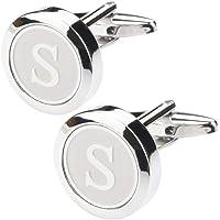 albetro Men's Copper Personalized Round Letter S Cufflinks (Silver)