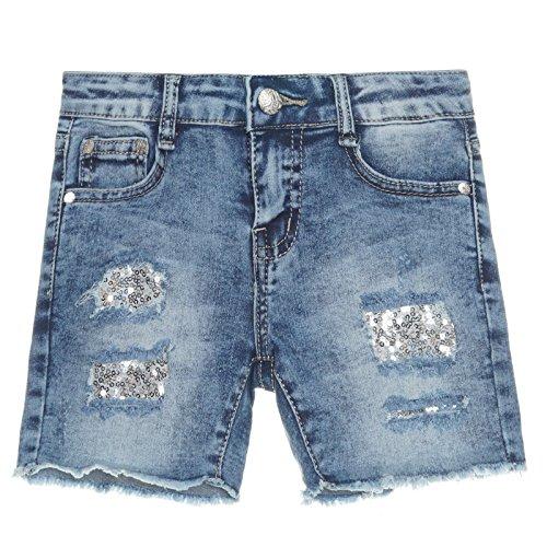 Mädchen Kurze Hose Girl Bermuda Shorts Sommer Capri Pump Pants Jeans 21284, Farbe:Blau;Größe:152