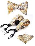 Hisdern Varios Clasico 6 clips Suspendedor & Bowtie & Plaza de bolsillo Set Forma Y Ajustable Tirantes